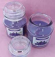 Свеча ароматизированная в сосуде AURA Bispol с запахом лаванды время горения 30 часов