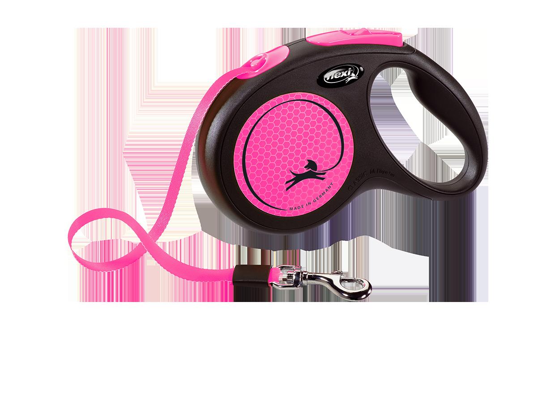 Поводок-рулетка New Neon лента S (5 м; до 15 кг) (розовый)