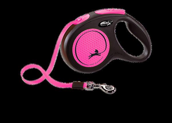 Поводок-рулетка New Neon лента S (5 м; до 15 кг) (розовый), фото 2