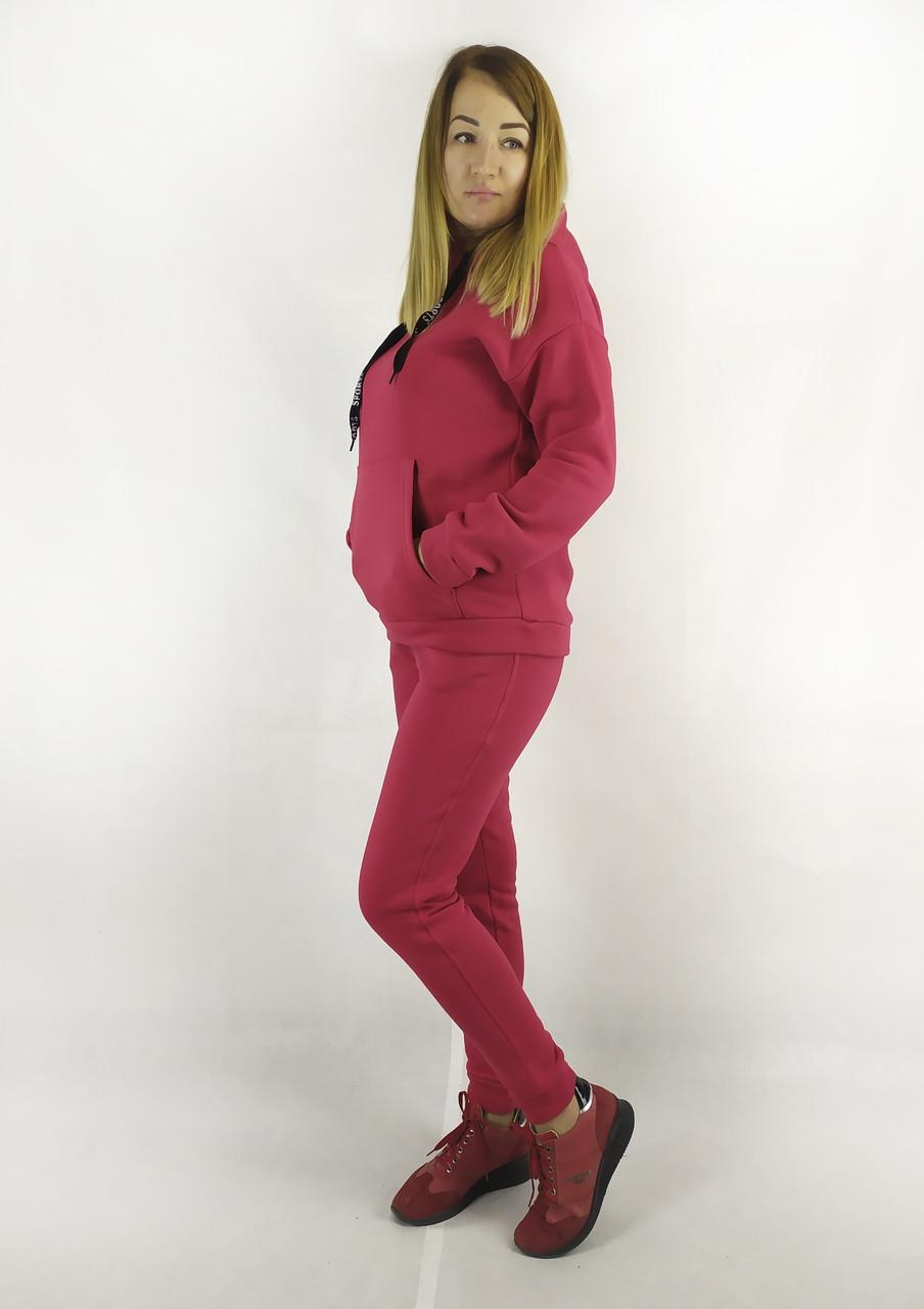Теплый красный спортивный костюм для женщин на флисе с толстовкой и брюками XL, XXL, 3XL
