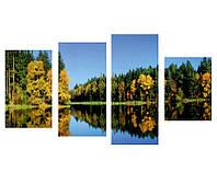 "4-х Модульная картина на холсте ""Лесное озеро"""