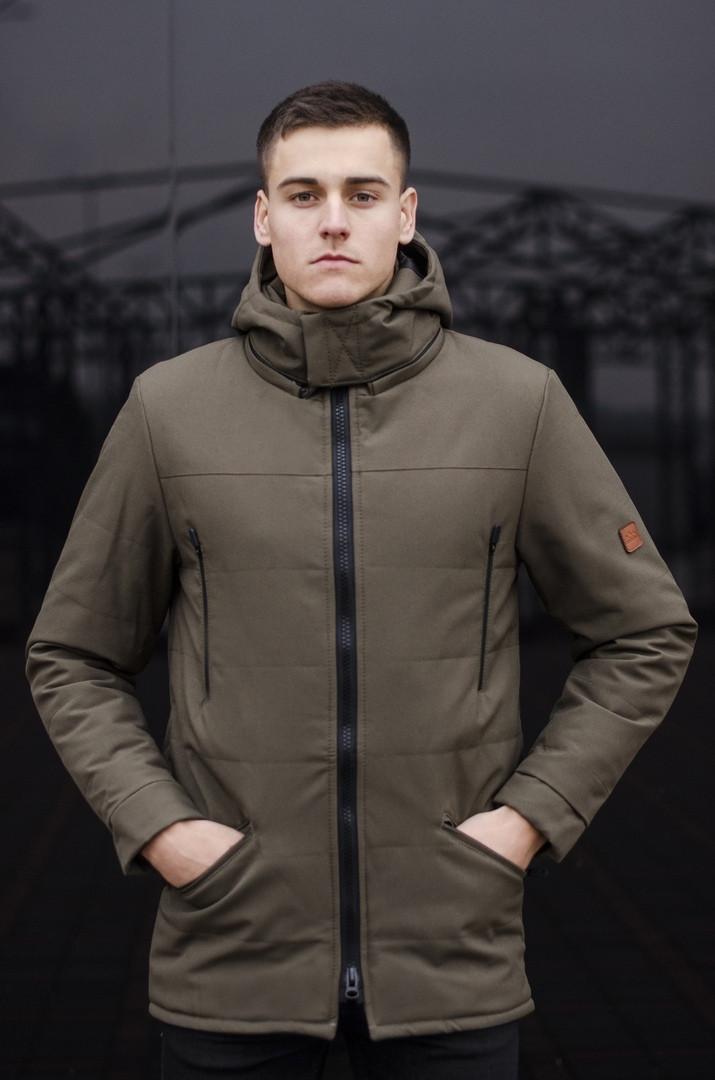 Мужская удлиненная стеганая куртка хаки с капюшоном зима/осень. Мужская хаки удлиненная парка