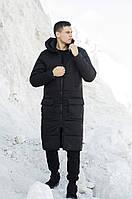 Мужская длинная стеганая куртка черная с капюшоном зима/осень. Мужское черное пальто.Мужская удлиненная парка