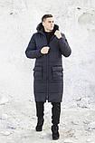 Мужская длинная стеганая куртка черная с капюшоном зима/осень. Мужское черное пальто.Мужская удлиненная парка, фото 2