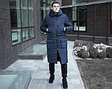 Мужская длинная стеганая куртка черная с капюшоном зима/осень. Мужское черное пальто.Мужская удлиненная парка, фото 3