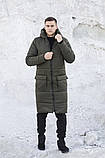 Мужская длинная стеганая куртка черная с капюшоном зима/осень. Мужское черное пальто.Мужская удлиненная парка, фото 4