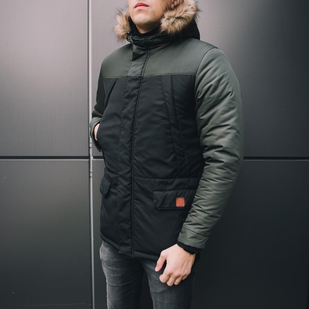 Мужская удлиненная стеганая куртка хаки с капюшоном зима/осень. Мужское хаки пальто. Мужская парка