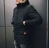 Мужская удлиненная стеганая куртка хаки с капюшоном зима/осень. Мужское хаки пальто. Мужская парка, фото 3