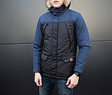 Мужская удлиненная стеганая куртка хаки с капюшоном зима/осень. Мужское хаки пальто. Мужская парка, фото 5