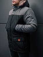 Мужская удлиненная стеганая куртка серая с капюшоном зима/осень. Мужское серое пальто. Мужская парка