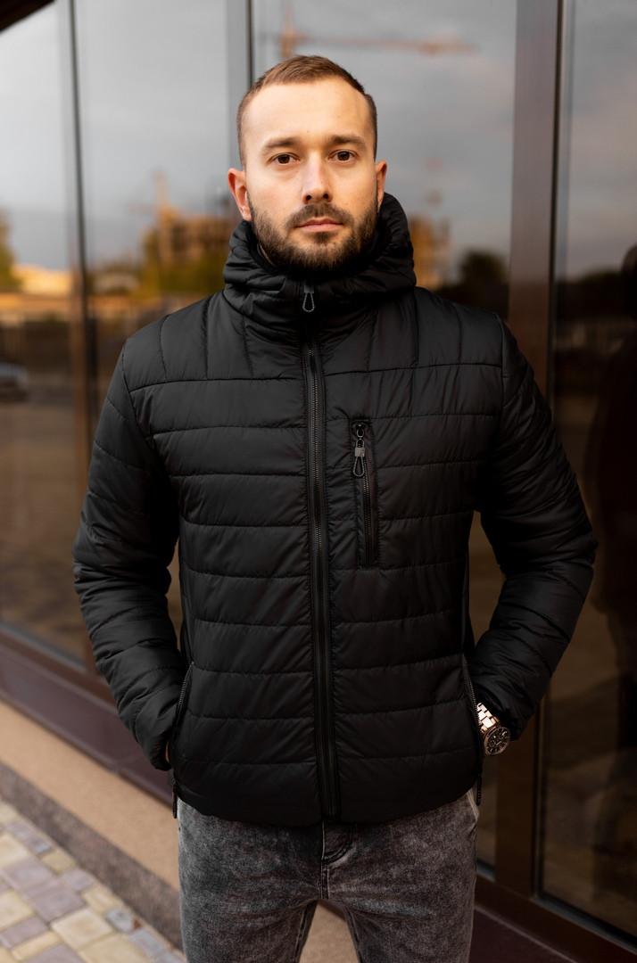 Мужская короткая стеганая куртка черная с капюшоном еврозима. Мужская черная ветровка,пуховик короткий черный