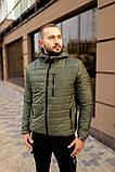 Мужская короткая стеганая куртка черная с капюшоном еврозима. Мужская черная ветровка,пуховик короткий черный, фото 4