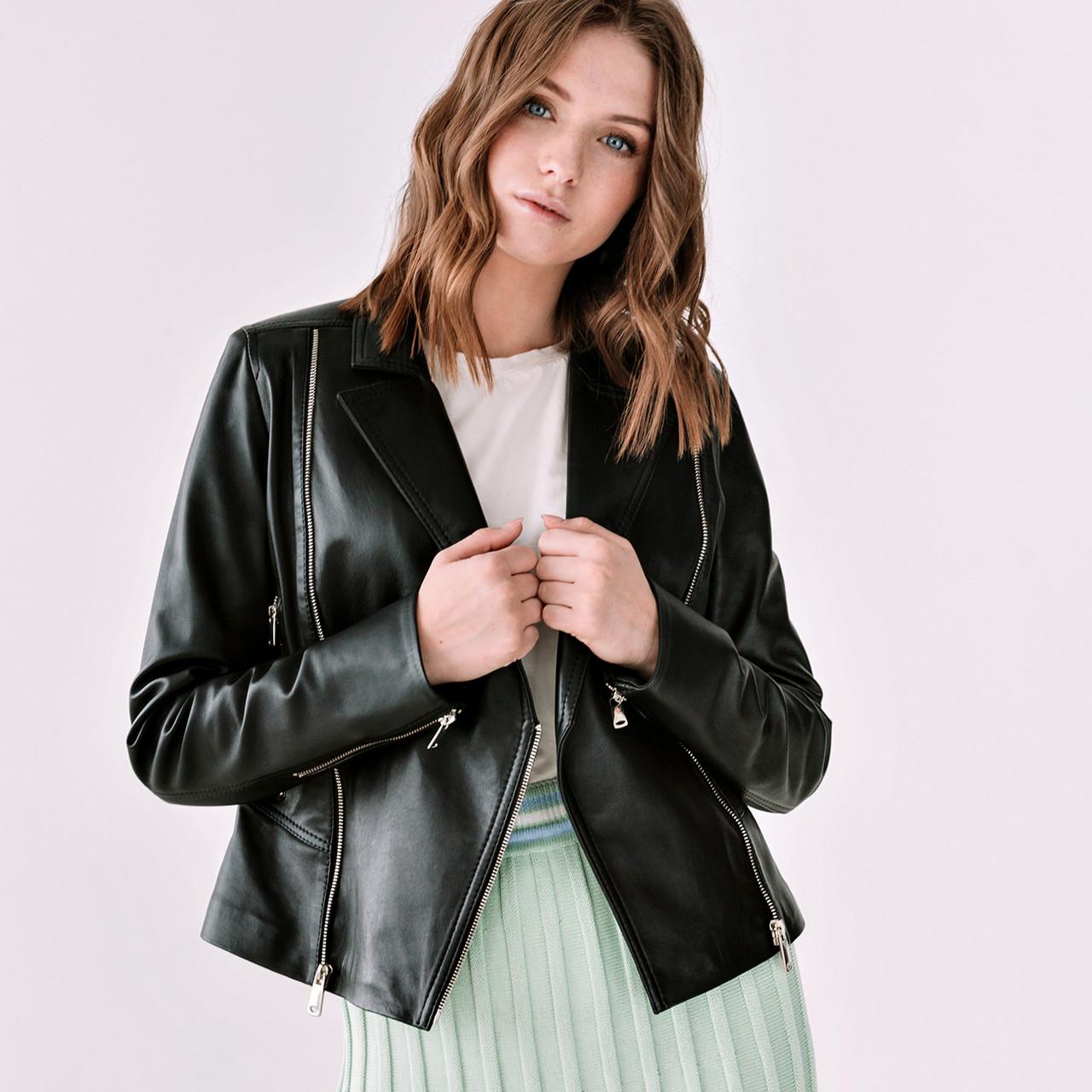 Шкіряна куртка-косуха VK чорна коротка (Арт. BLM201)