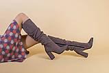 Демисезонные замшевые сапоги на каблуке цвета какао, фото 6
