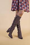 Демисезонные замшевые сапоги на каблуке цвета какао, фото 9