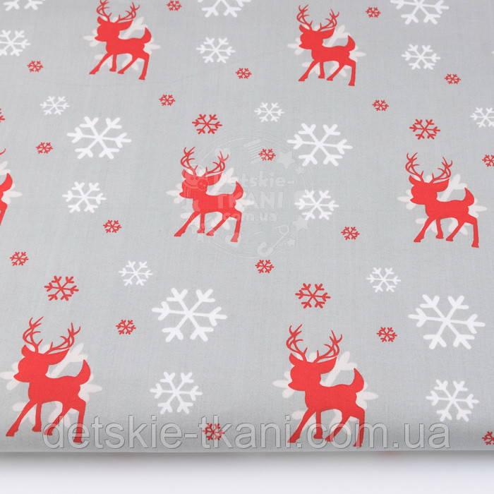 """Ткань новогодняя  """"Красный оленёнок и белые снежинки"""" фон серый, №3006"""