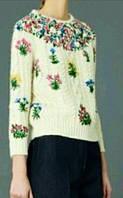 Свитер женский белый в стиле Dolce & Gabbana косы вышивка, фото 1