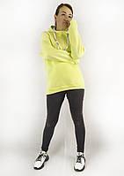 Модное женское худи желтого цвета с капюшоном на флисе S, M, L