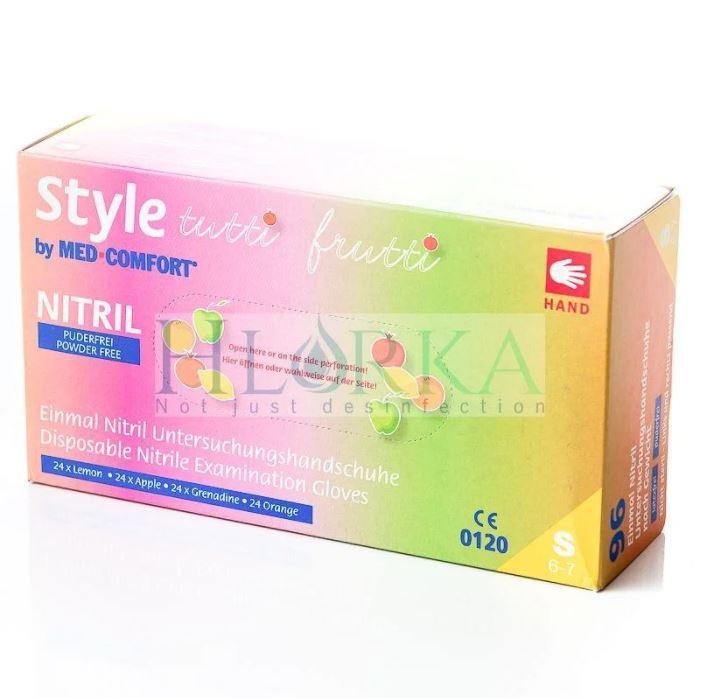 Перчатки нитриловые, разноцветные (4 цвета) Style Tutti Frutti 4,0 г (96шт./уп.) XS