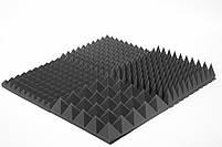 Акустическая панель Ecosound пирамида 120мм Mini,черный графит 50х50см из акустического поролона, фото 2