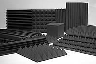 Акустическая панель Ecosound пирамида 120мм Mini,черный графит 50х50см из акустического поролона, фото 3