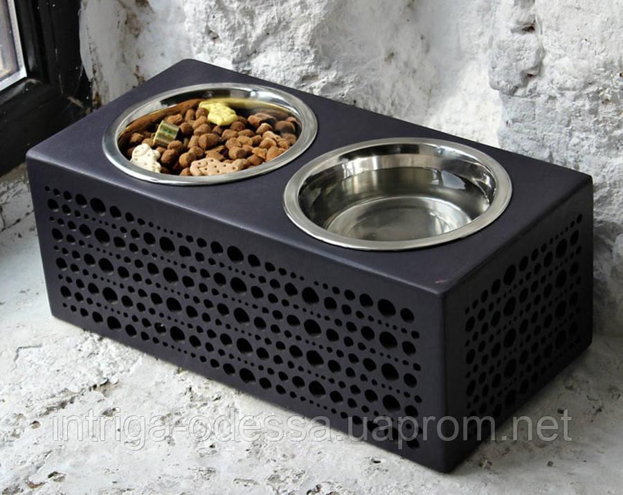 КІТ-ПЕС by smartwood Мискa на подставке | Миска-кормушка металлическая для собак щенков - 2 миски 750 мл