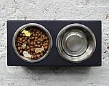 КІТ-ПЕС by smartwood Мискa на подставке | Миска-кормушка металлическая для собак щенков - 2 миски 750 мл, фото 2
