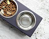 КІТ-ПЕС by smartwood Мискa на подставке | Миска-кормушка металлическая для собак щенков - 2 миски 750 мл, фото 4