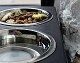 КІТ-ПЕС by smartwood Мискa на подставке | Миска-кормушка металлическая для собак щенков - 2 миски 750 мл, фото 5