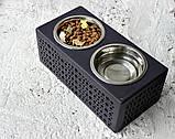 КІТ-ПЕС by smartwood Мискa на подставке | Миска-кормушка металлическая для собак щенков - 2 миски 750 мл, фото 7