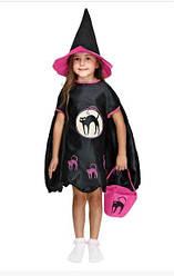 Карнавальный костюм ВЕДЬМА, ведьмочка на Хэллоувин 110-120 см рост, костюм ведьмы для девочки