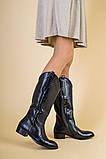 Зимние черные кожаные сапоги, фото 4
