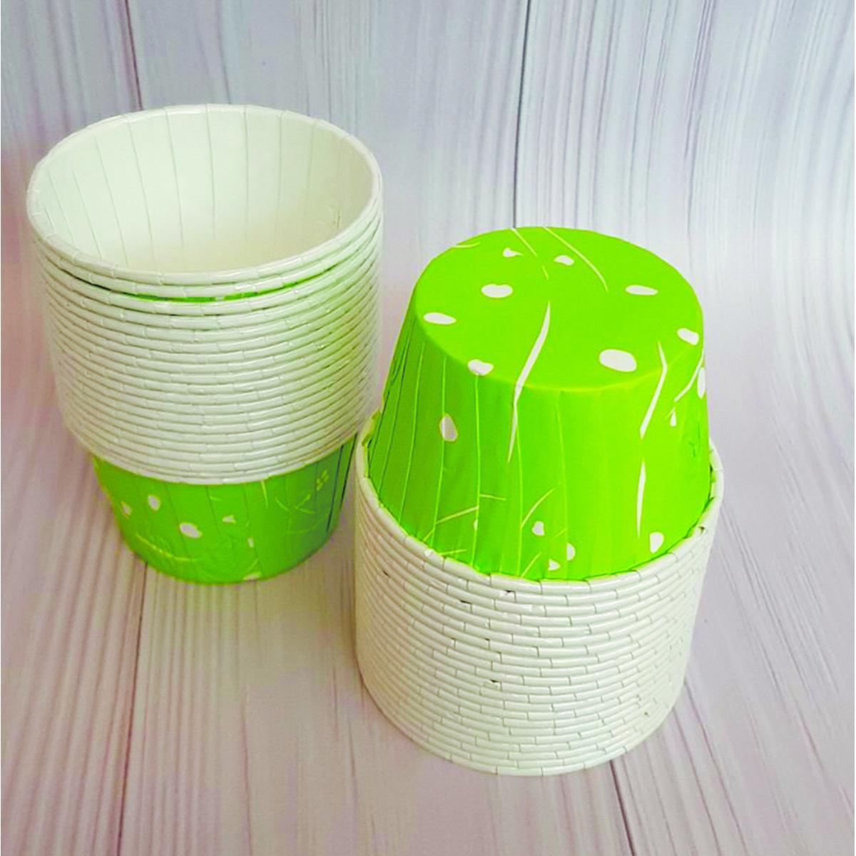 Формы бумажные для кексов усиленные с бортиком Зеленые, 50*40 мм. зелені