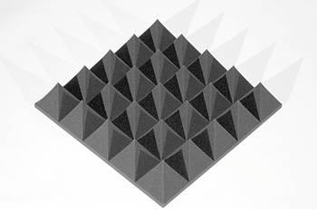 Акустическая панель Ecosound пирамида XL 100мм Mini,черный графит 50х50см из акустического поролона