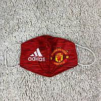Маска для лица клубная Манчестер Юнайтед  тканевая 2-х слойная, многоразовая