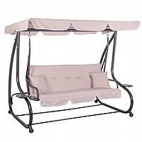 Гойдалки для дачі та саду Гойдалки-диван садові з навісом для відпочинку Springos 193 х 163 см Рожевий (ЛФ