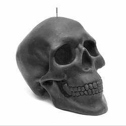 Свеча восковая череп черная