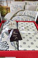 Комплект постельного белья фланель Valencia Bej Belizza Евро размер