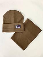 Дитяча шапка з хомутом розмір 50\52 колір коричневий