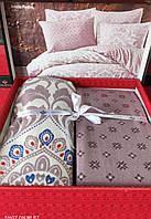 Комплект постельного белья фланель Jessia Pudra Belizza Евро размер