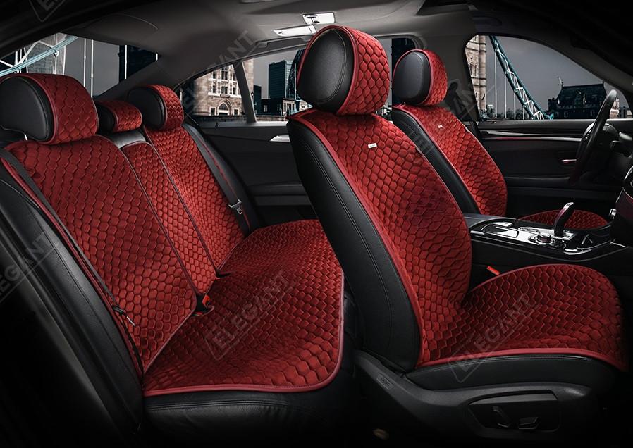 Накидки на сидіння авто Elegant Palermo EL 700 101 передні та задні з алькантари червоні