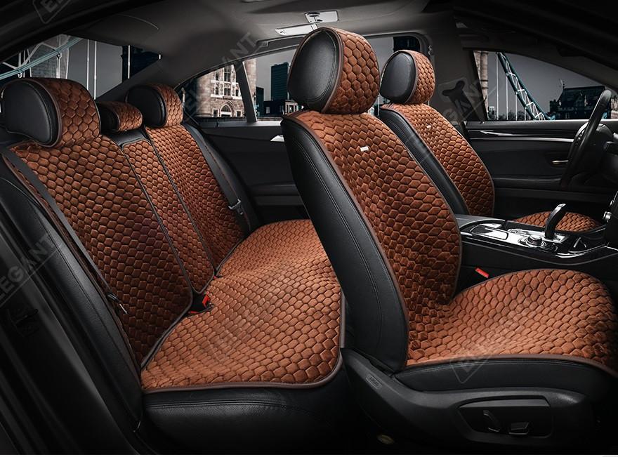 Накидки на сидіння авто темно-коричневий Elegant Palermo EL 700 105 передні та задні