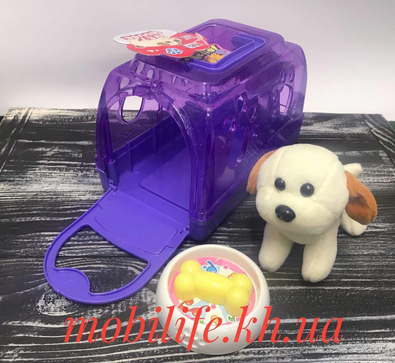 Собачка в переноске/Игровой набор с плюшевой игрушкой/Собачка в клетке Фиолетовый/