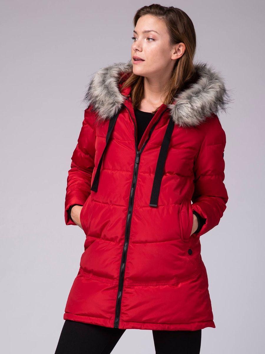 Женская красная куртка пальто Volcano J-Moneli L22089-400