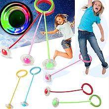 Детская светящаяся скакалка на одну ногу LED подсветка Нейроскакалка