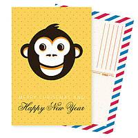 Дизайнерская открытка. Год обезьяны