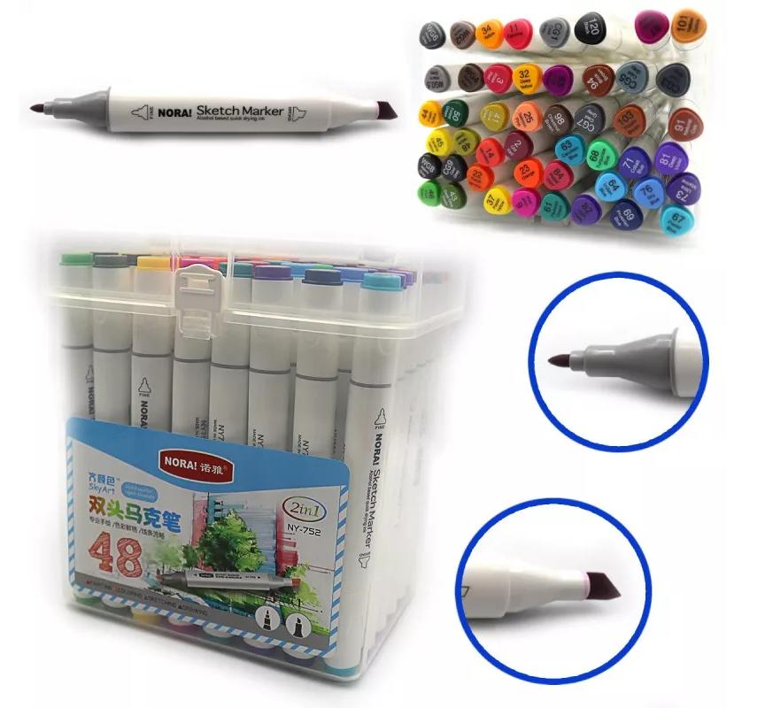 Набір скетч-маркерів Josef Otten 48 кольорів, тригранний корпус