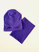 Дитяча шапка з хомутом Оченята 50-52 розмір колір фіолетовий