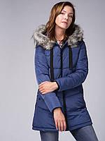 Синяя зимняя женская куртка пальто Volcano J-Moneli L22089-611