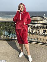 Спортивное платье с капюшоном 48-50 красное